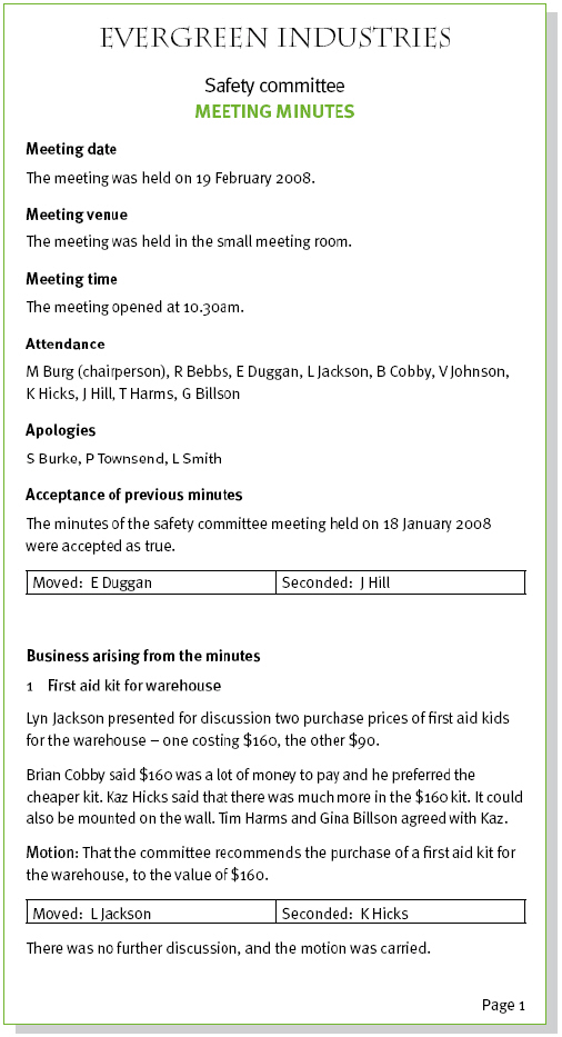 Sample meeting minutes